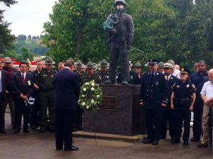 Governor Earl Ray Tomblin, Laying a Wreath at the Fallen Firefighter Memorial September 11, 2014. Photo courtesy of the Governor's Office